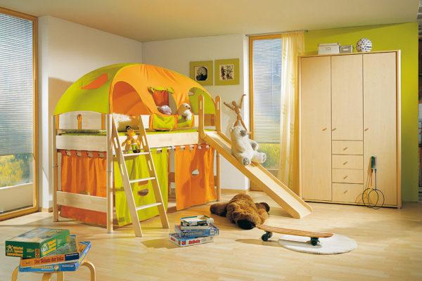 PAIDI Spielbett Fleximo mit Leiter und Rutsche