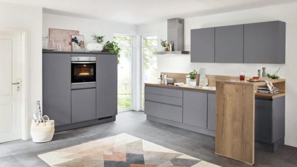 nobilia Einbauküche Touch mit privileg Einbaugeräten und Frühstückstheke